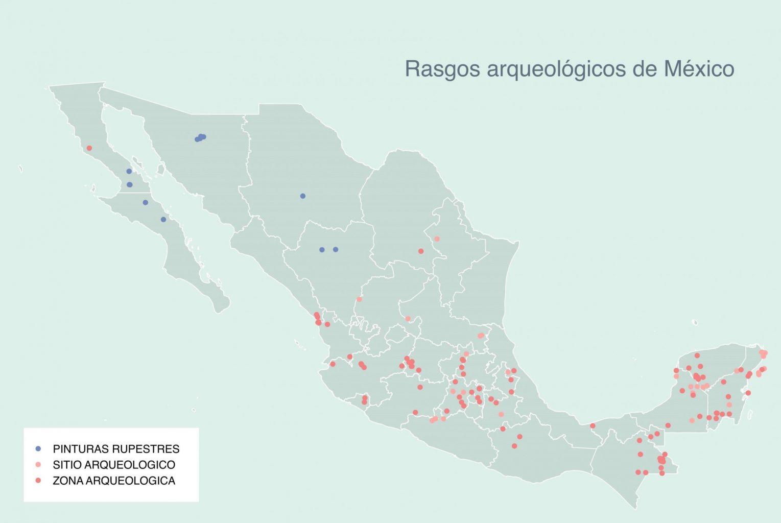 En el 30daymapchallenge se puede encontrar mapas tales como los que marcan las zonas arqueológicas de México
