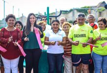 Autoridades del municipio de Isla Mujeres junto a la presidenta del DIF municipal inauguran gimnasio al aire libre