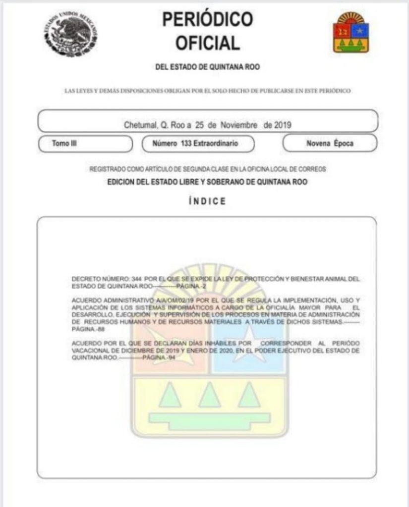 se publicó en el Periódico Oficial del Estado y se oficializa las corridas de toros