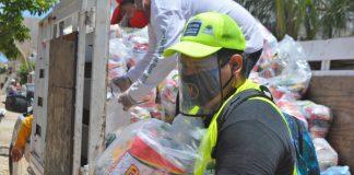 se encuentra en marcha la segunda vuelta de repartición de despensas en Isla Mujeres